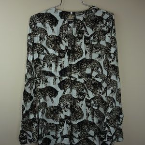 H & M Womens Casual Longsleeve Leopard Print Dress